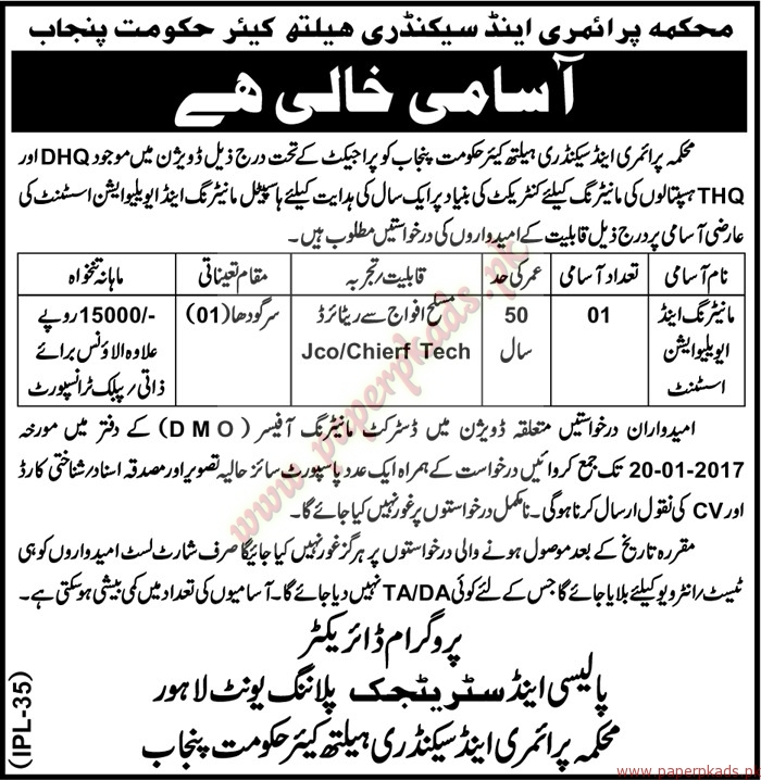 Primary and Secondary Healthcare Department Jobs - Nawaiwat Jobs ads 05 January 2017