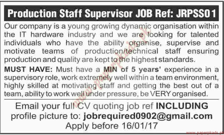 Production Staff Supervisors Jobs