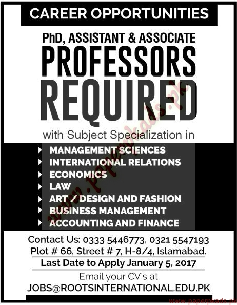 Professors Required - The News Jobs ads 01 January 2017