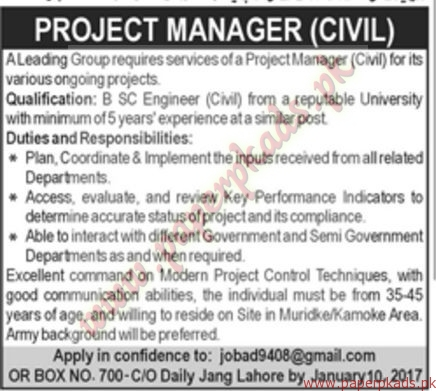 Project Manager Civil Required - Jang Jobs ads 01 January 2017
