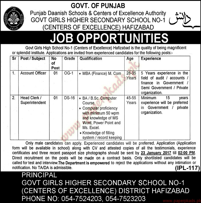 Punjab Daanish Schools & Centers of Excellence Authority Jobs - Nawaiwat Jobs ads 05 January 2017