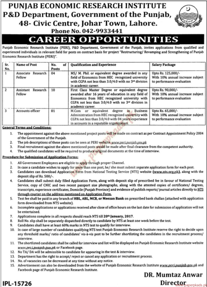 Punjab Economic Research Institute P&D Department Jobs - Jang Jobs ads 01 January 2017