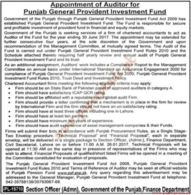 Punjab General Provident Investment Fund Jobs - Jang Jobs ads 01 January 2017