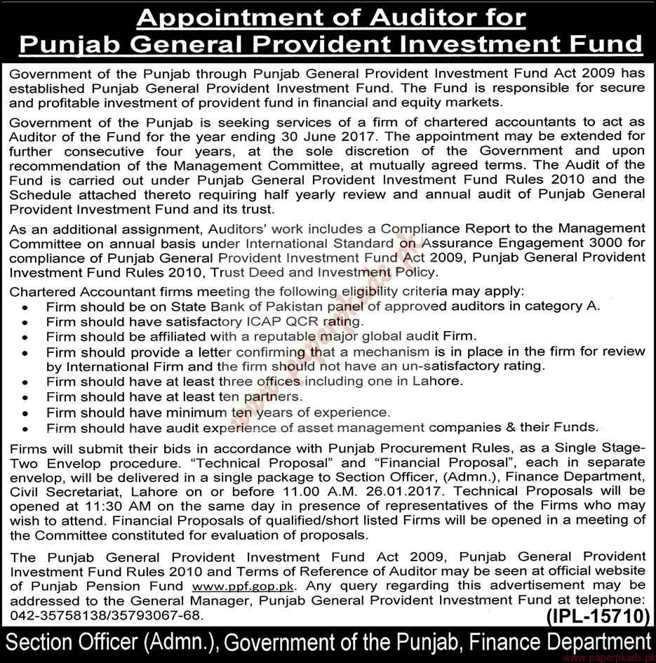 Punjab General Provident Investment Fund Jobs - The Nation Jobs ads 01 January 2017