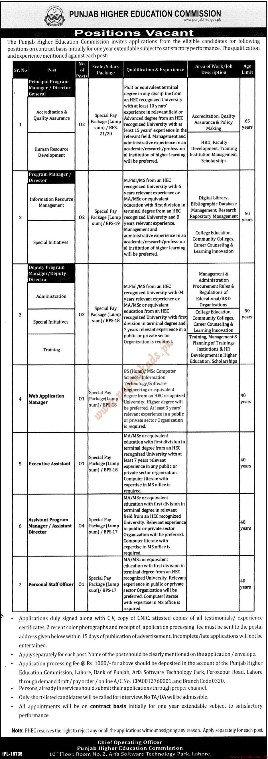 Punjab Higher Education Commission Jobs - Jang Jobs ads 01 January 2017