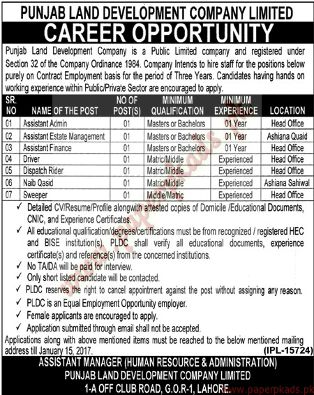 Punjab Land Development Company Limited Jobs - Nawaiwaqt Jobs ads 01 January 2017