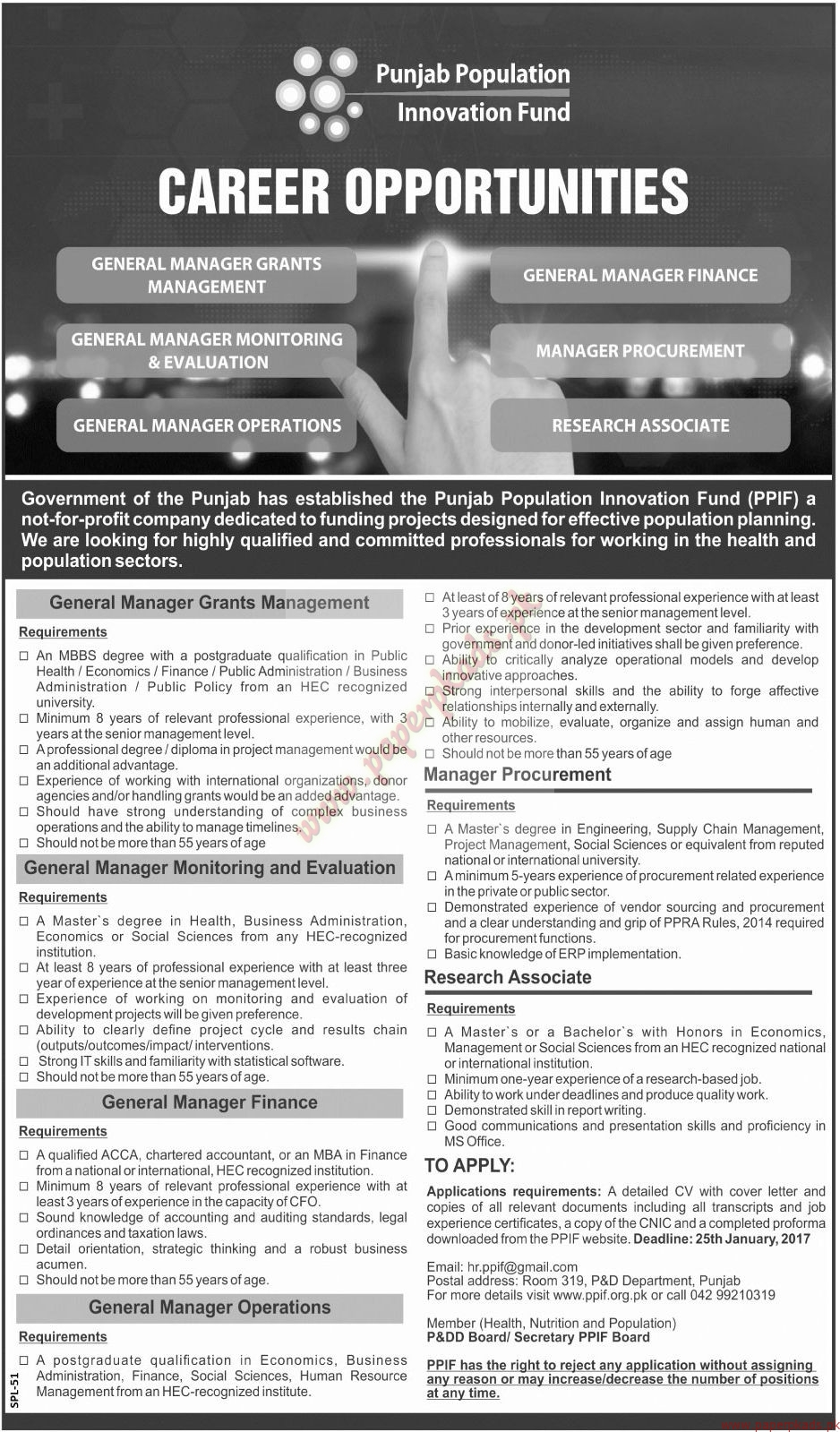 Punjab Population Innovation Fund Jobs