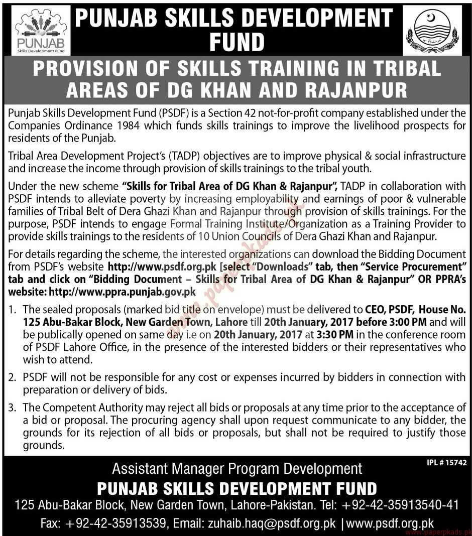 Punjab Skills Development Fund Jobs - Jang Jobs ads 01 January 2017