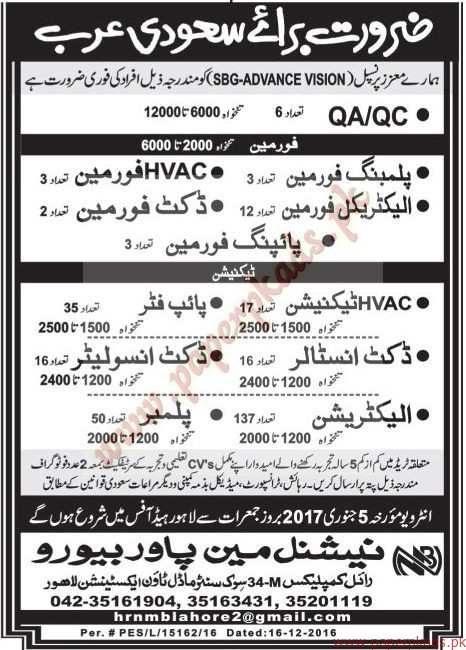QA-QC Engineers, Electricians, Foreman, Plumbers and Other Jobs in Saudi Arabia - Jang Jobs ads 01 January 2017