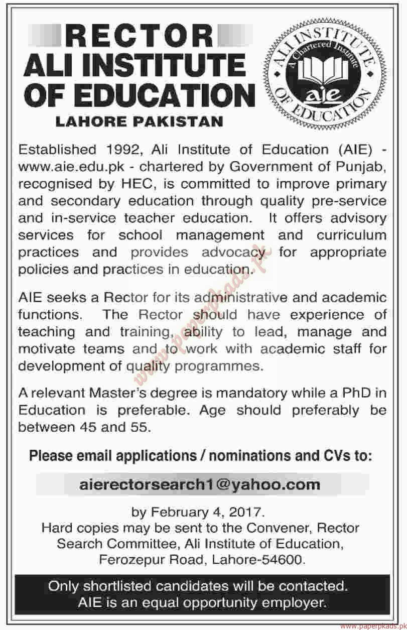 rector ali institute of education lahore jobs paperpk rector ali institute of education lahore jobs