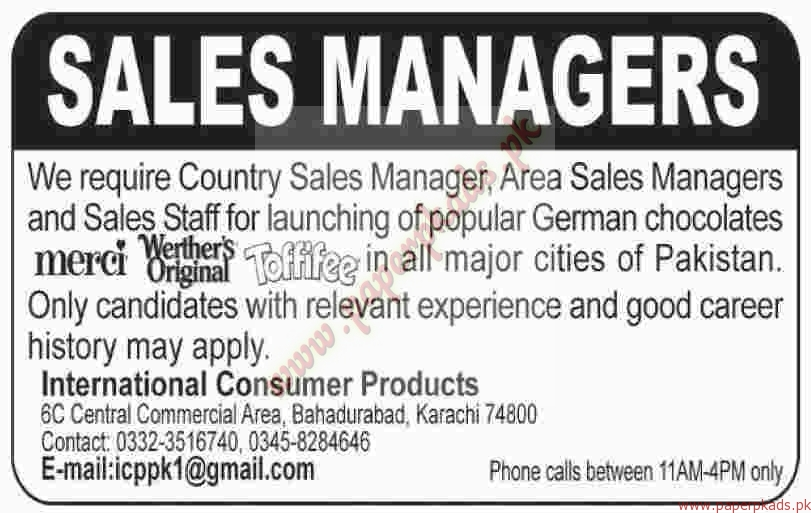 Sales Managers Required - Dawn Jobs ads 01 January 2017