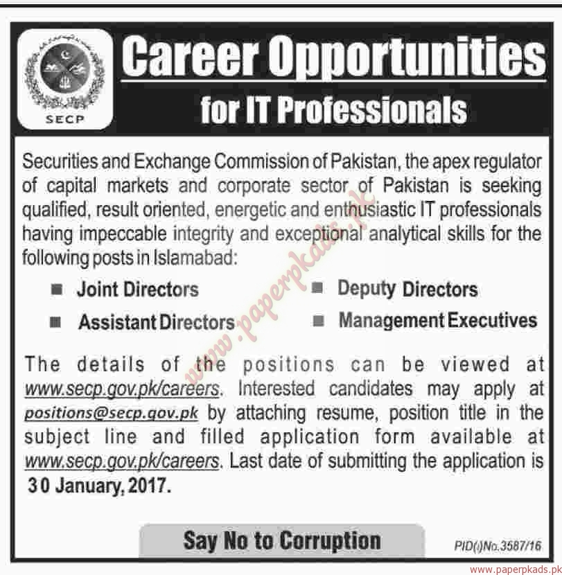 securities and exchange commission of pakistan jobs