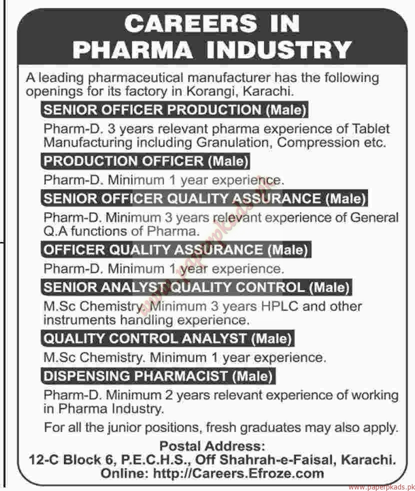 Senior Officer Production Production Officer Senior Officer Quality Assurance and Other Jobs