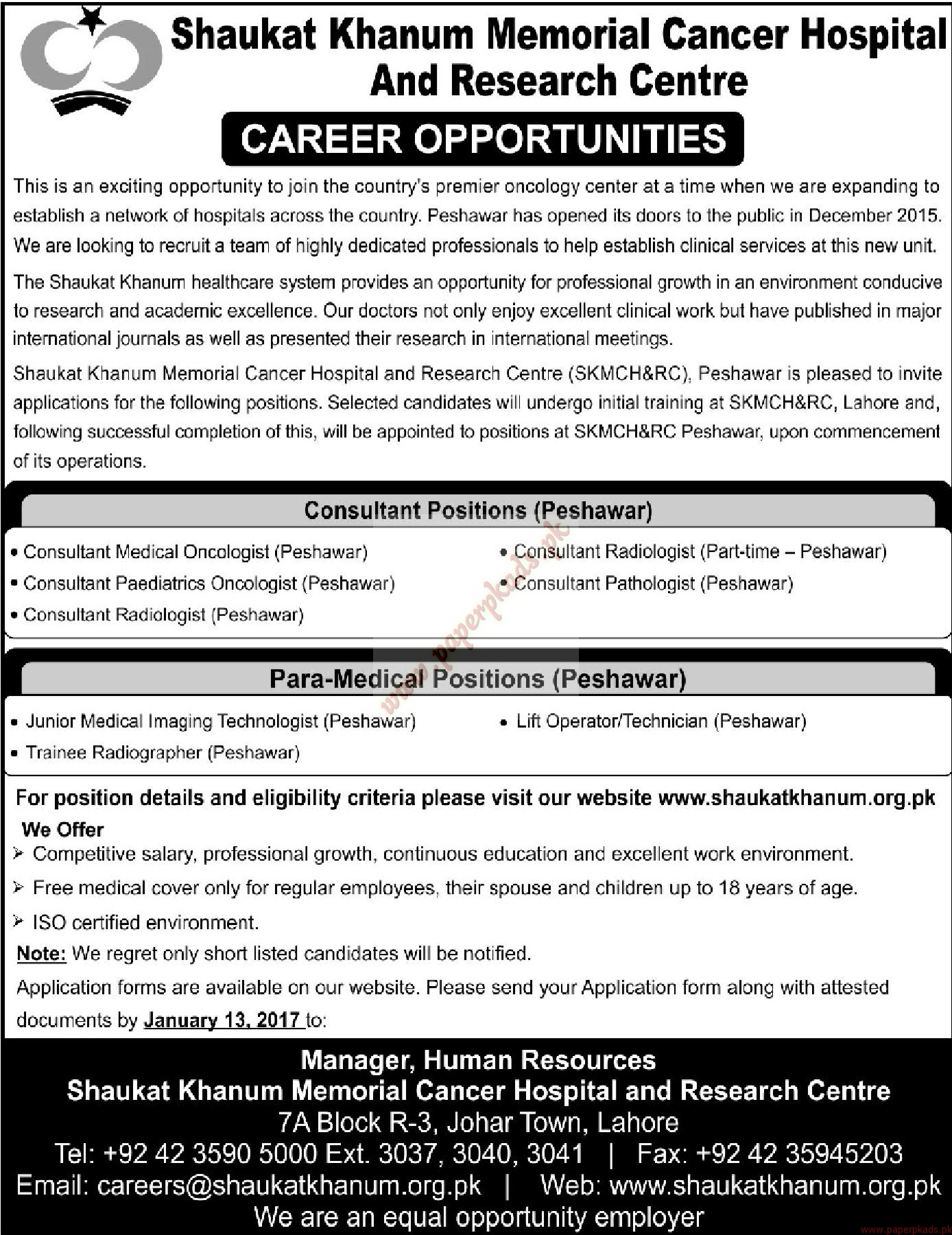 Shaukat Khanum Memorial Cancer Hospital and Research Centre Jobs - Mashriq Jobs ads 01 January 2017