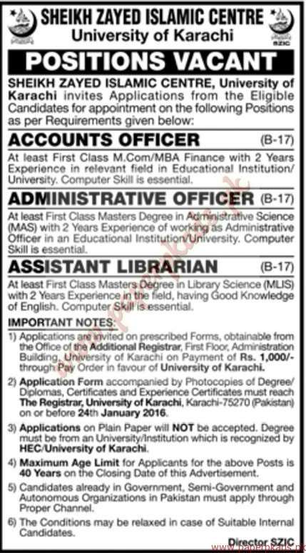 Sheikh Zayed Islamic Centre University of Karachi Jobs