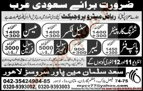 Shuttring Carpainters Steel Fixers Civil Foreman & Civil Engineers Jobs in Saudi Arabia