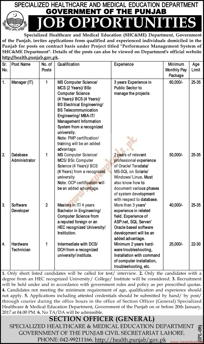 Specialized Healthcare and Medical Education Department Jobs - Nawaiwaqt Jobs ads 04 January 2017