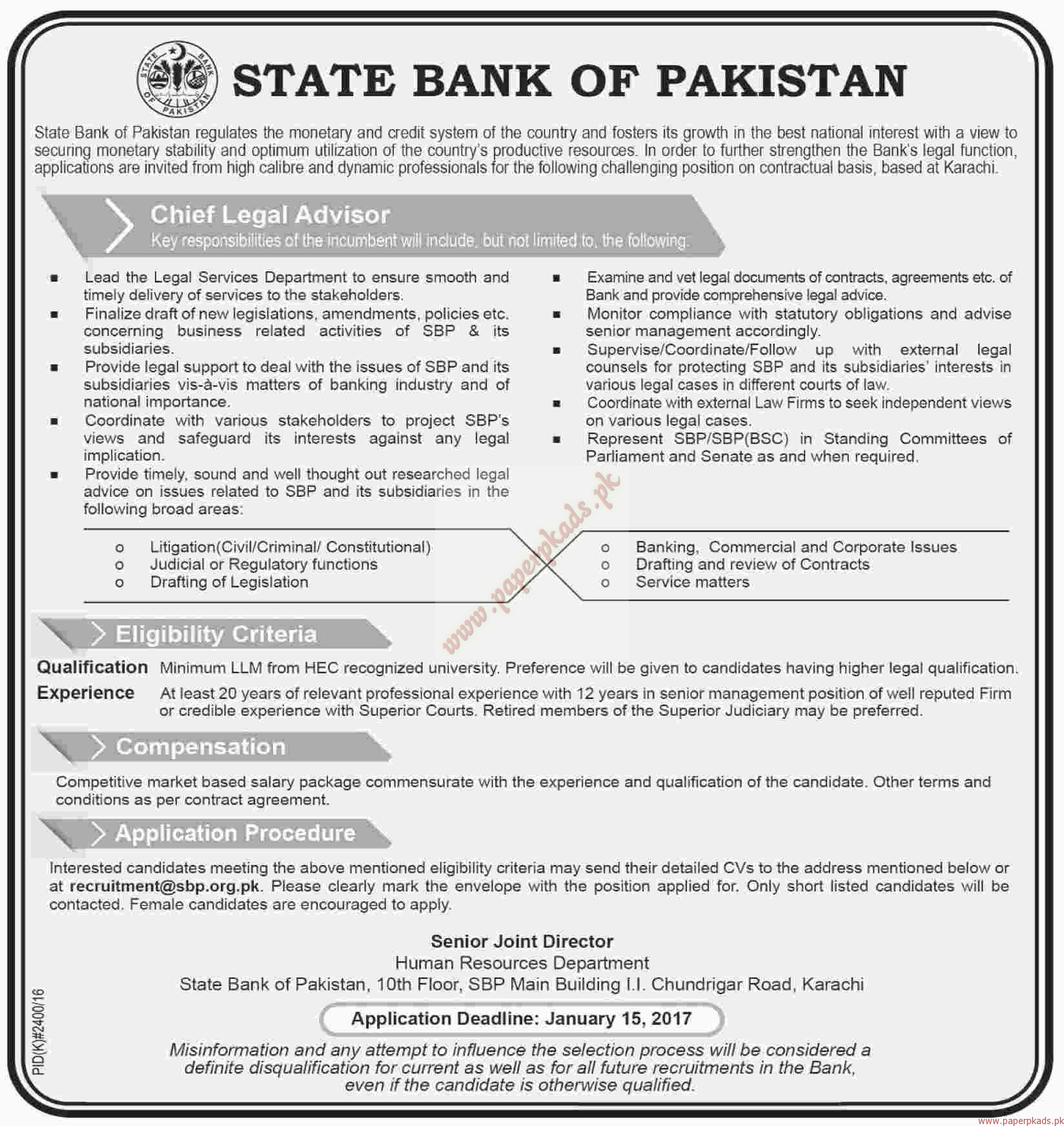 State Bank of Pakistan Jobs - Dawn Jobs ads 01 January 2017