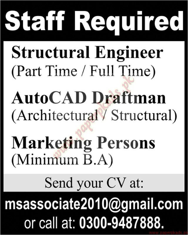 Structural Engineers Auto Cad Draftsman and Marketing Persons ...
