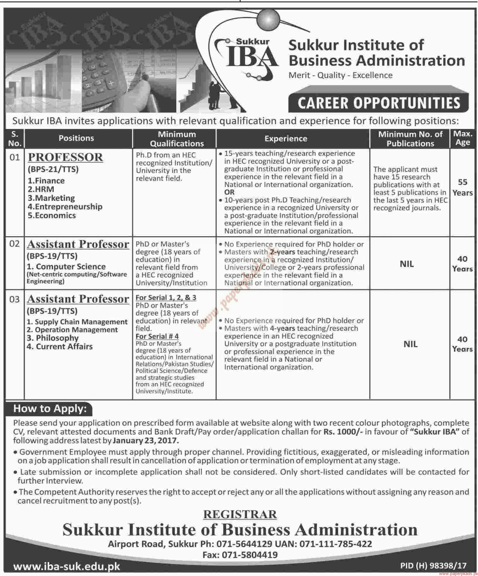 Sukkur Institute of Business Administration Jobs 2