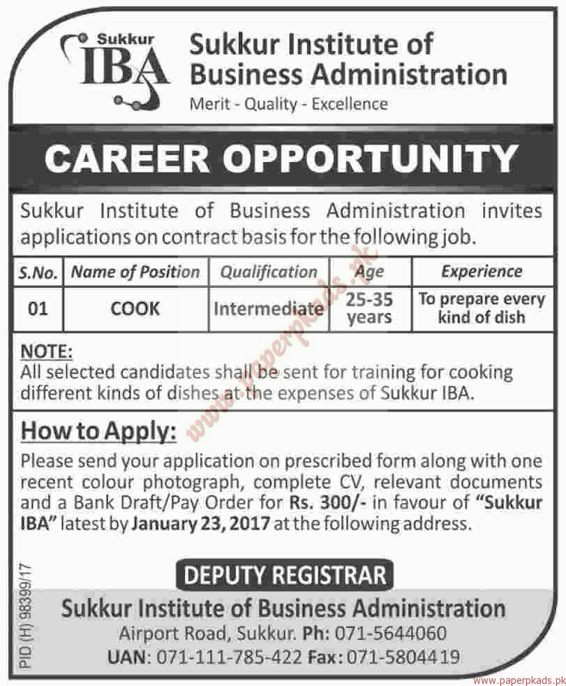 Sukkur Institute of Business Administration Jobs