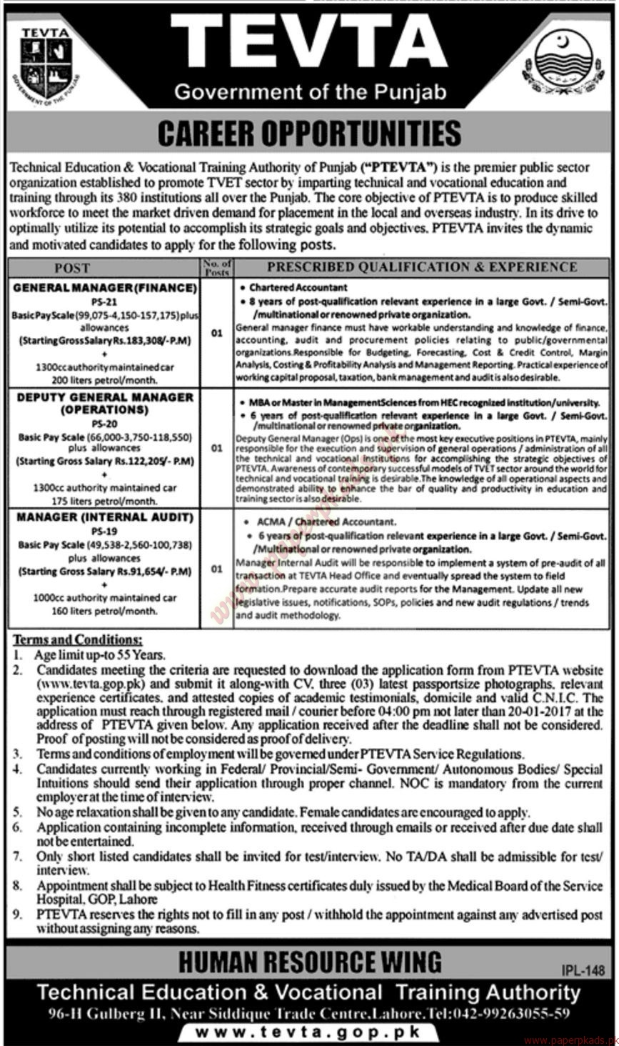 TEVTA - Government of the Punjab Jobs