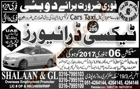 Taxi Drivers Jobs in Dubai - Express Jobs ads 04 January 2017