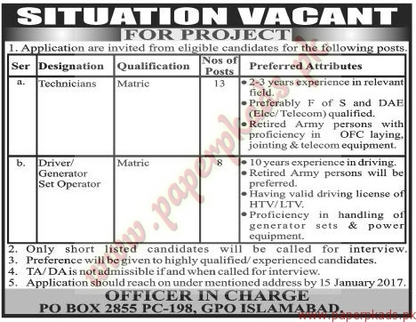 Technicians Drivers and Generator Operators Jobs