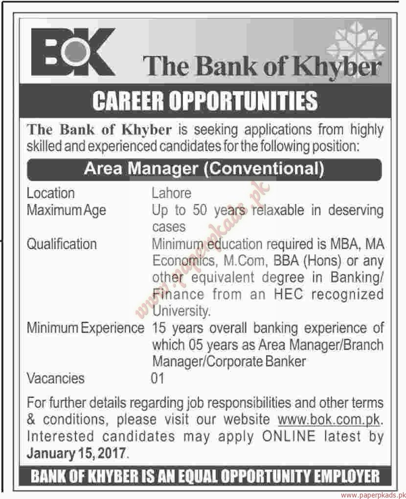 The Bank of Khyber Jobs - Dawn Jobs ads 03 January 2017