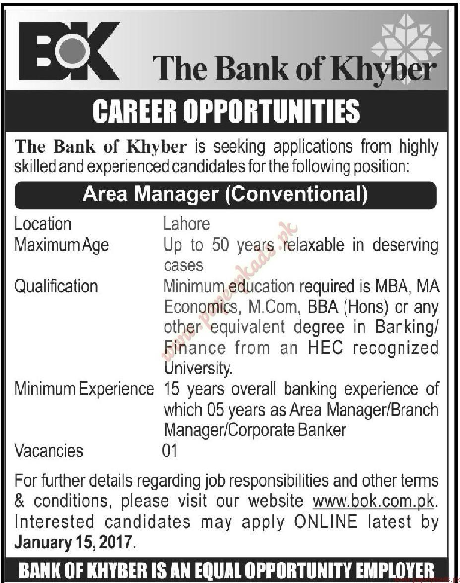 The Bank of Khyber Jobs - Mashriq Jobs ads 03 January 2017