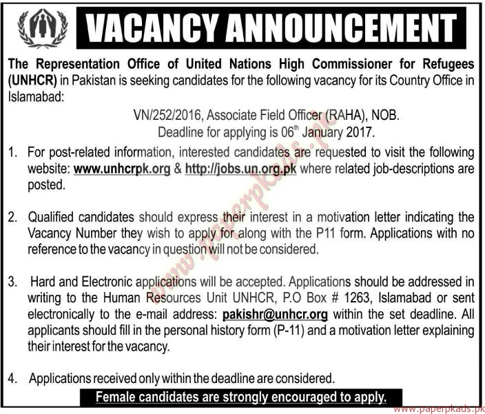 The Representation Office of United Nations High Commissioner for Refugees Jobs - The News Jobs ads 01 January 2017
