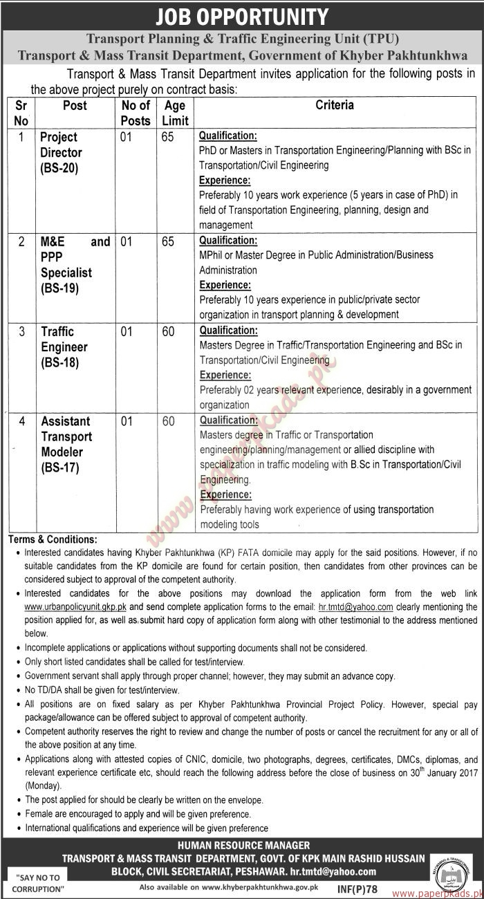 Transport Panning & Traffic Engineering Unit Jobs