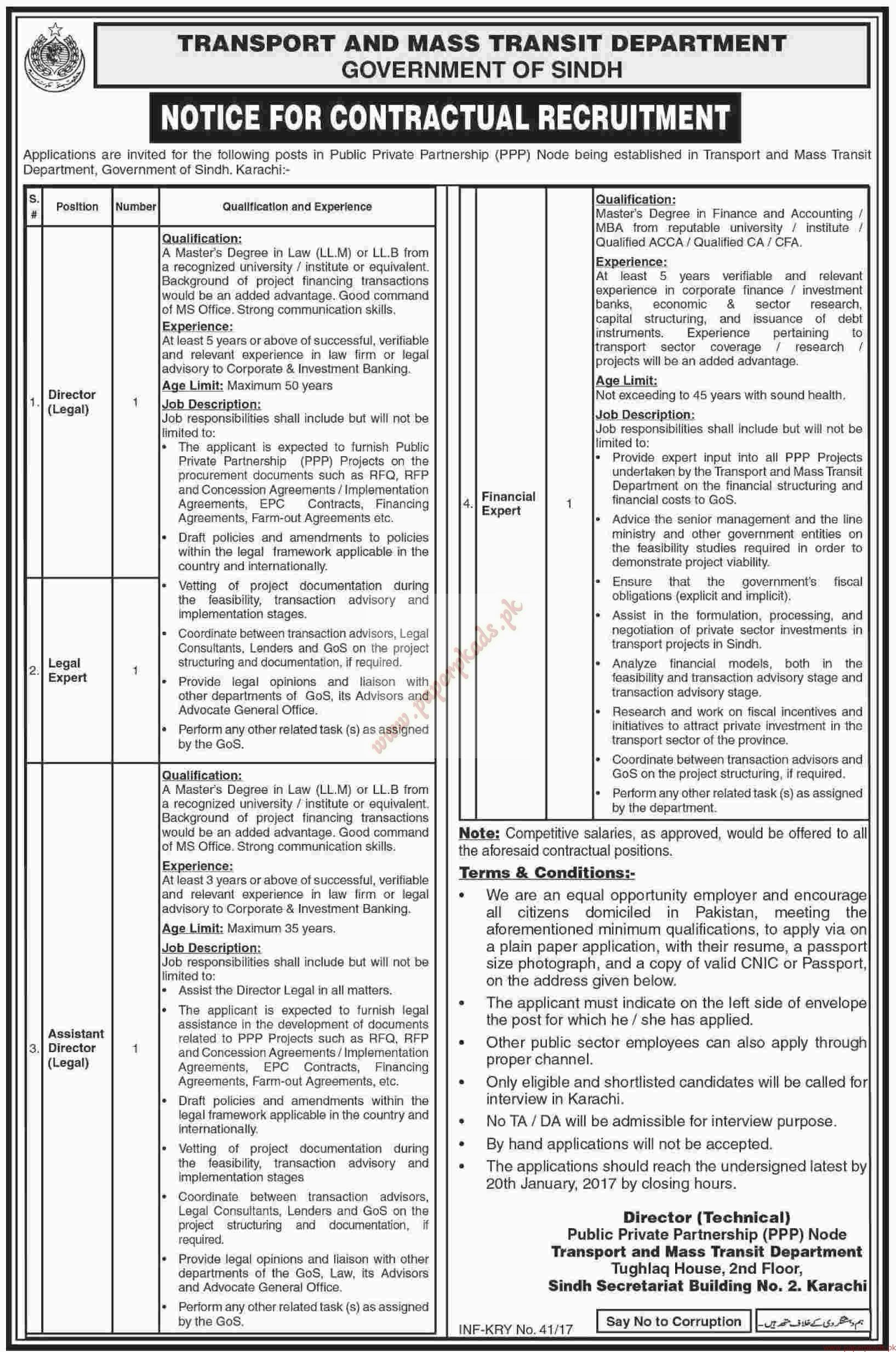 Transport and Mass Transit Department Jobs