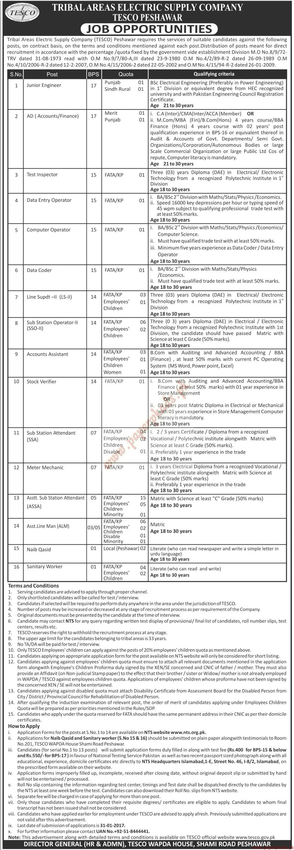 Tribal Areas Electric Supply Company TESCO Peshawar Jobs