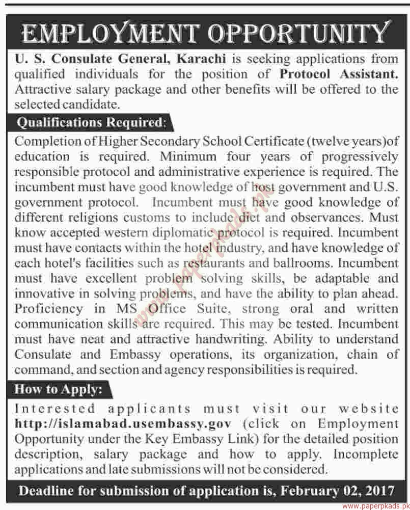 US COnsulate General Karachi Jobs - Dawn Jobs ads 22 January