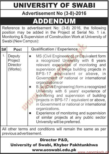University of Swabi Jobs - The News Jobs ads 04 January 2017