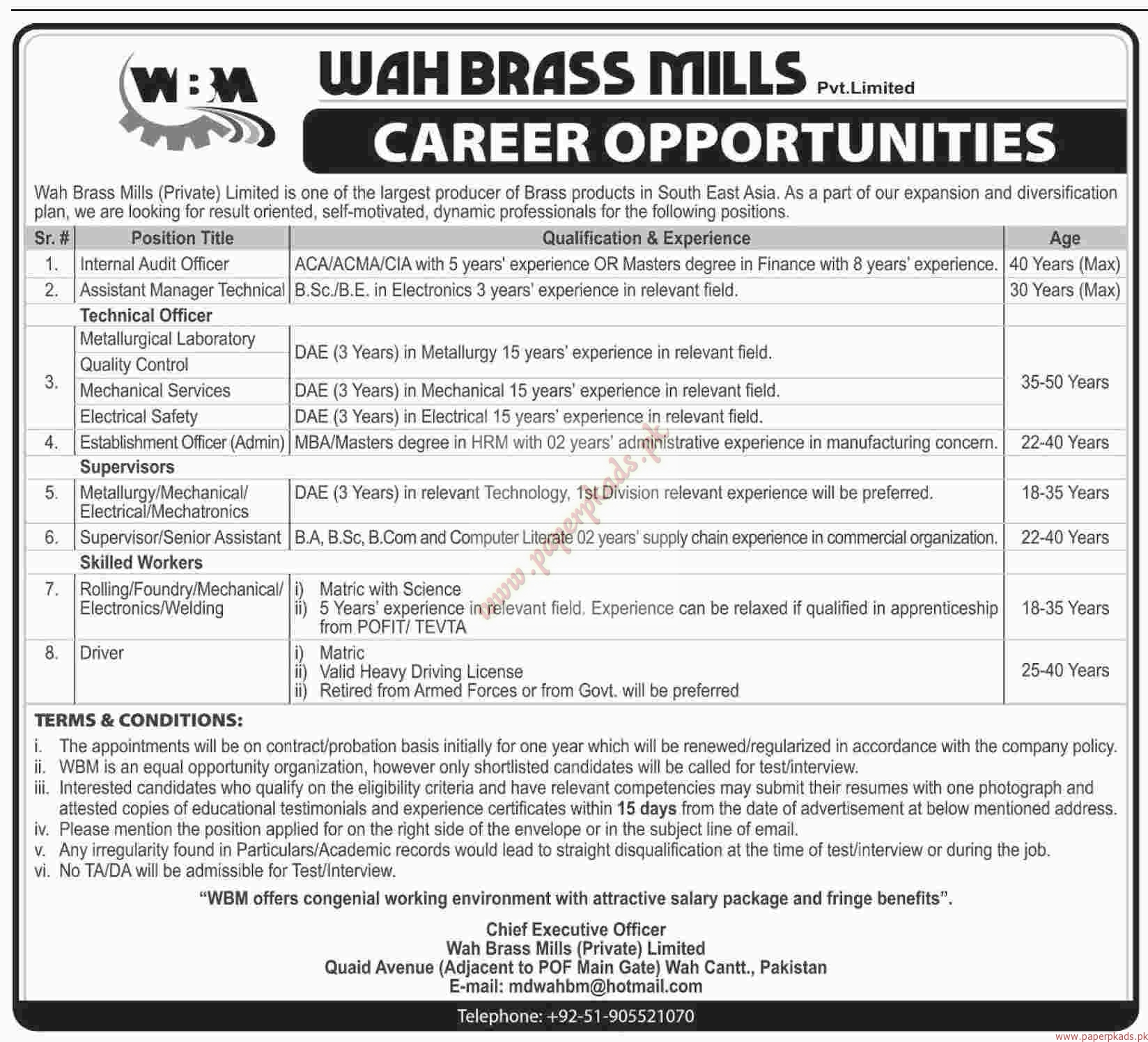 Wah Brass Mills Private Limited Jobs