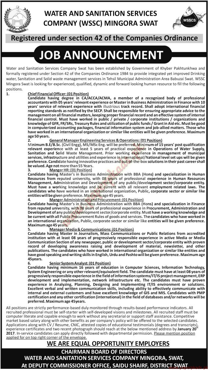 Water and Sanitation Services Company Jobs - The News Jobs ads 01 January 2017