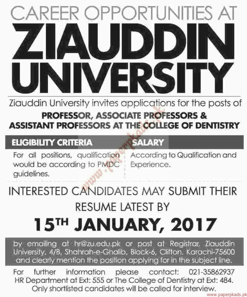 Ziauddin University Jobs - Dawn Jobs ads 01 January 2017