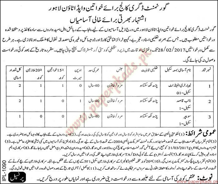 Government Degree College WAPDA Town Lahore Jobs - Express Jobs ads 04 February 2017
