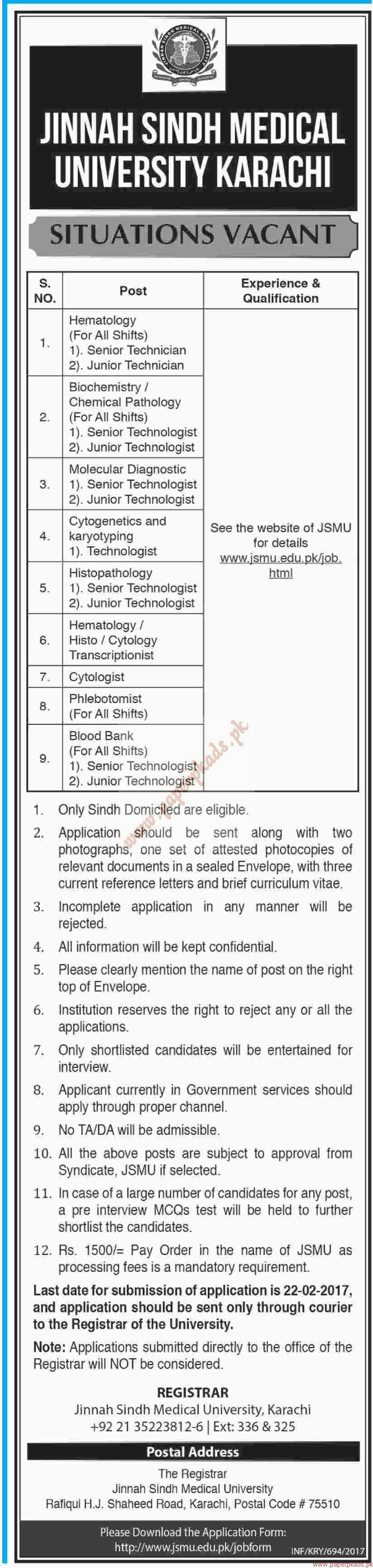 jinnah sindh medical university karachi jobs dawn jobs ads  related articles
