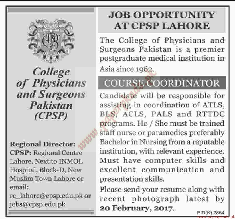 The College of Physicians and Surgeons Pakistan Jobs – Dawn Jobs ads 05 February 2017