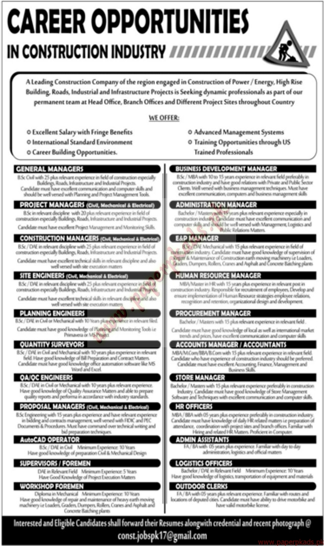 jobs in construction industry jang jobs ads 26 february 2017