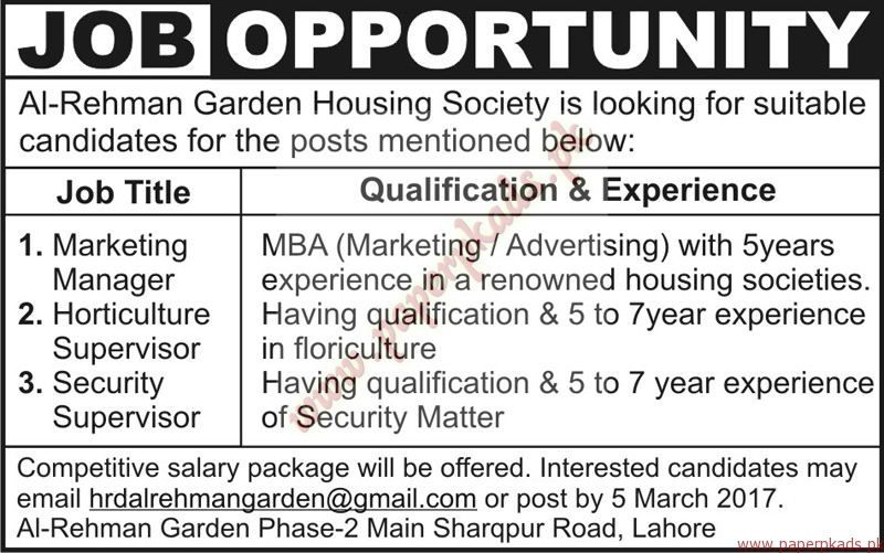 Al rehman garden housing society jobs nawaiwaqt jobs ads for Gardening jobs for march