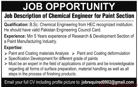 Chemical Engineer For Paint Section Jobs  Jang Jobs Ads  March