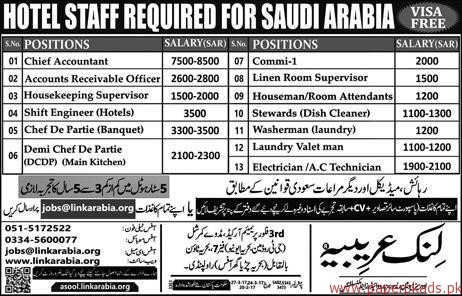 Chief Accountant Housekeeping Supervisors Accounts Receivable Oficers And Other Jobs