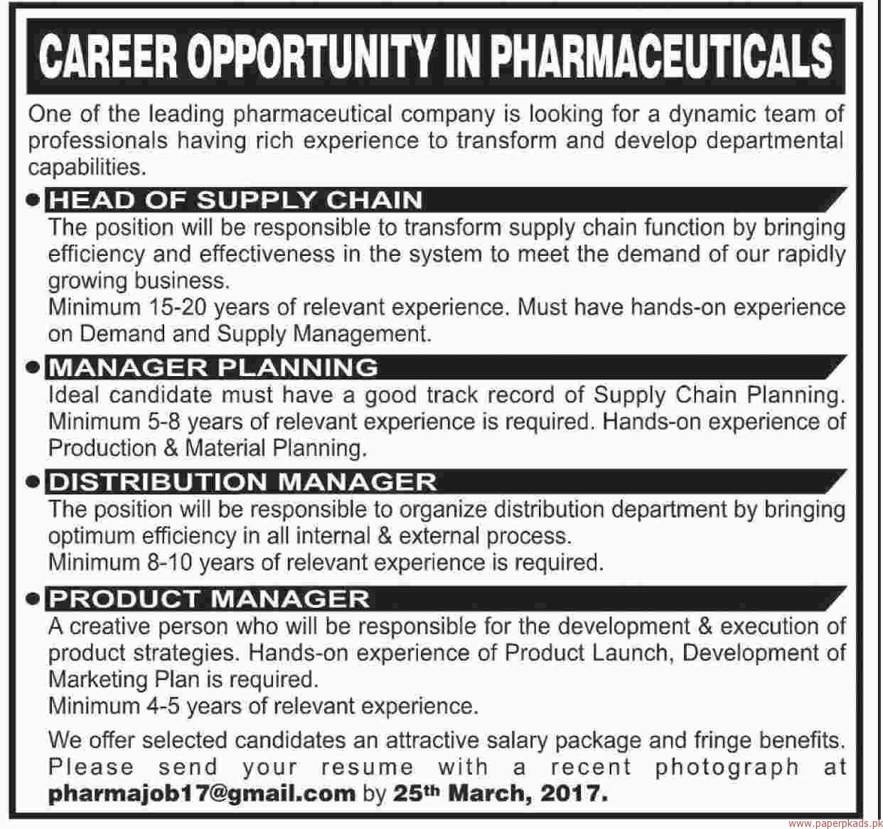 Head Of Supply Chain Manager Planning Distribution Managers Jobs U2013 Dawn  Jobs Ads 12 March 2017