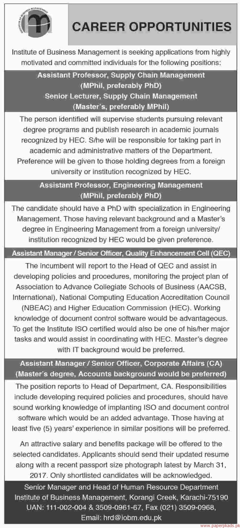 institute of business management jobs paperpk institute of business management jobs