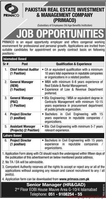 Pakistan Real Estate Investment Management Company Jobs Paperpk