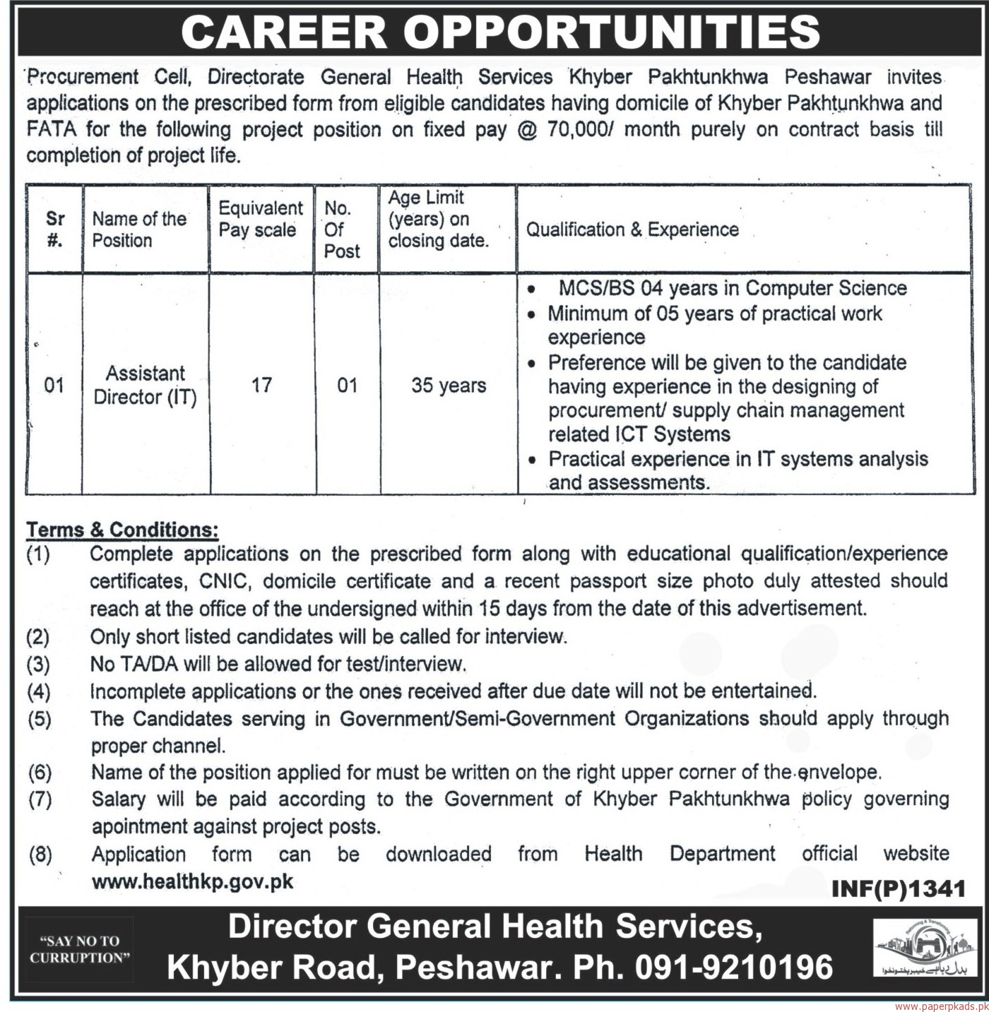 Procurement Cell General Health Services Department Jobs